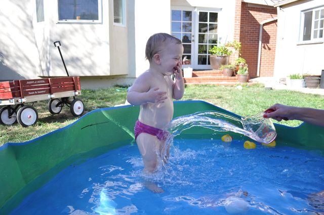 Stella in the kiddie pool
